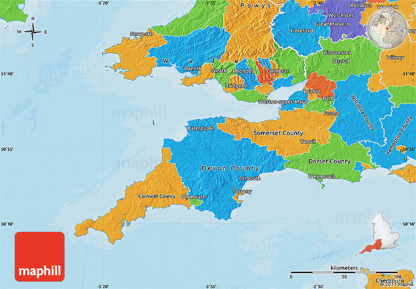 Map Of The South Of England.Political Map Of South West