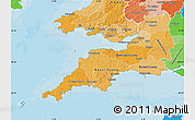 Political Shades Map of South West