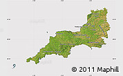 Satellite Map of South West, cropped outside