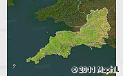 Satellite Map of South West, darken