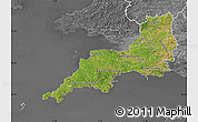 Satellite Map of South West, desaturated