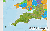 Satellite Map of South West, political outside