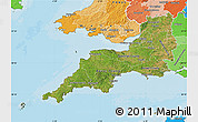 Satellite Map of South West, political shades outside
