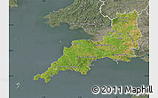 Satellite Map of South West, semi-desaturated