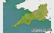Satellite Map of South West, single color outside