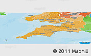 Political Shades Panoramic Map of South West