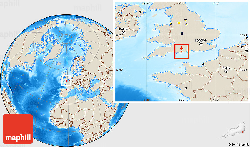 Poole England Map.Shaded Relief Location Map Of Poole