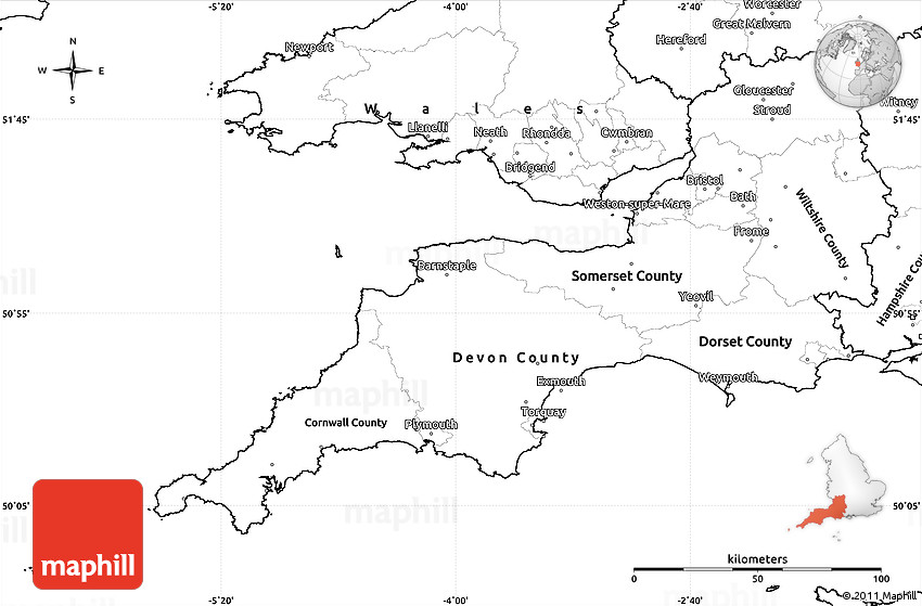Blank Simple Map of South West