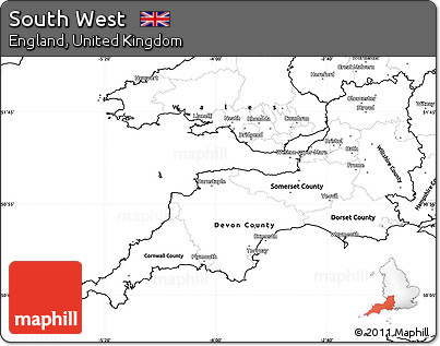 Free Blank Simple Map of South West