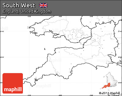 Free Blank Simple Map of South West no labels