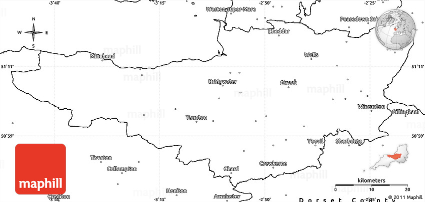 Blank Simple Map of Somerset County