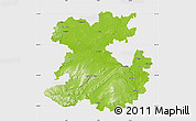 Physical Map of Shropshire County, single color outside