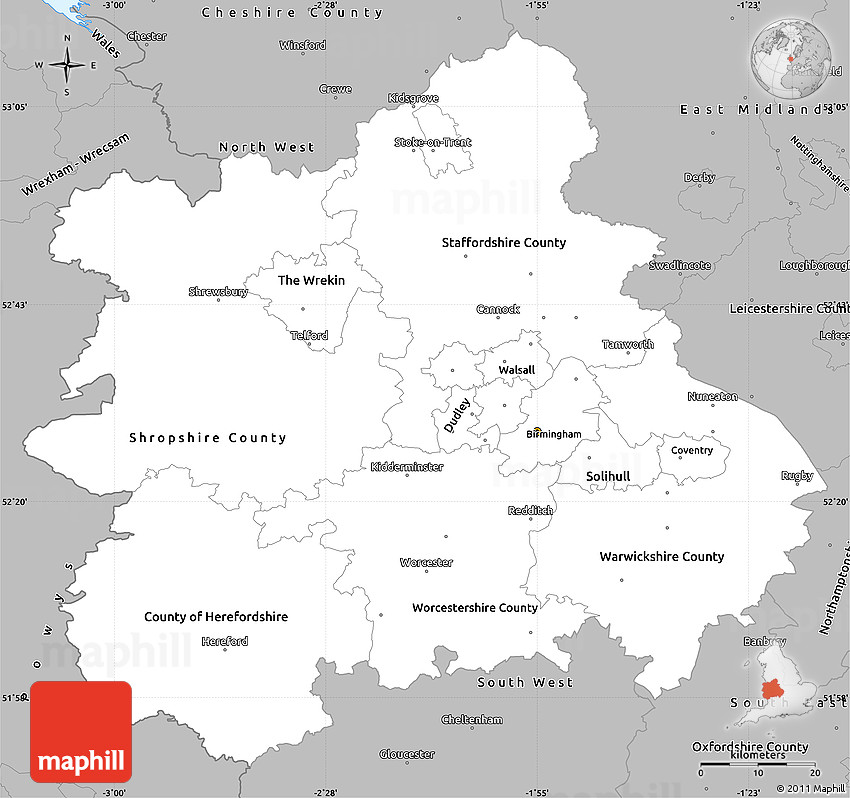 Map Of England Midlands.Gray Simple Map Of West Midlands