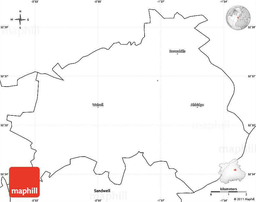 Blank Simple Map of Walsall