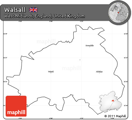 Free Blank Simple Map of Walsall cropped outside