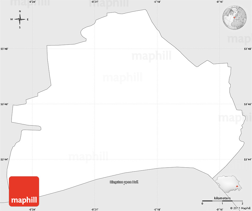 Silver Style Simple Map of City of Kingston Upon Hull