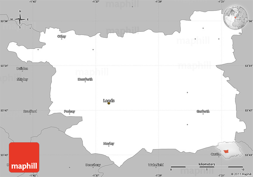 Gray Simple Map Of Leeds