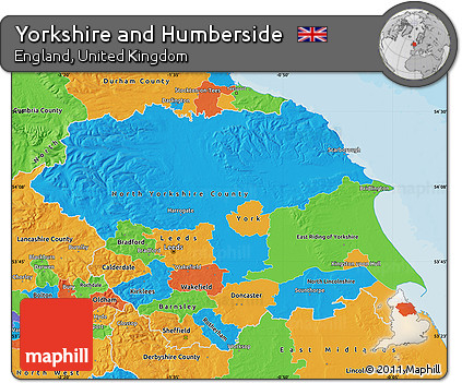 Worksheet. Free Political Map of Yorkshire and Humberside