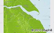 Physical Map of North East Lincolnshire