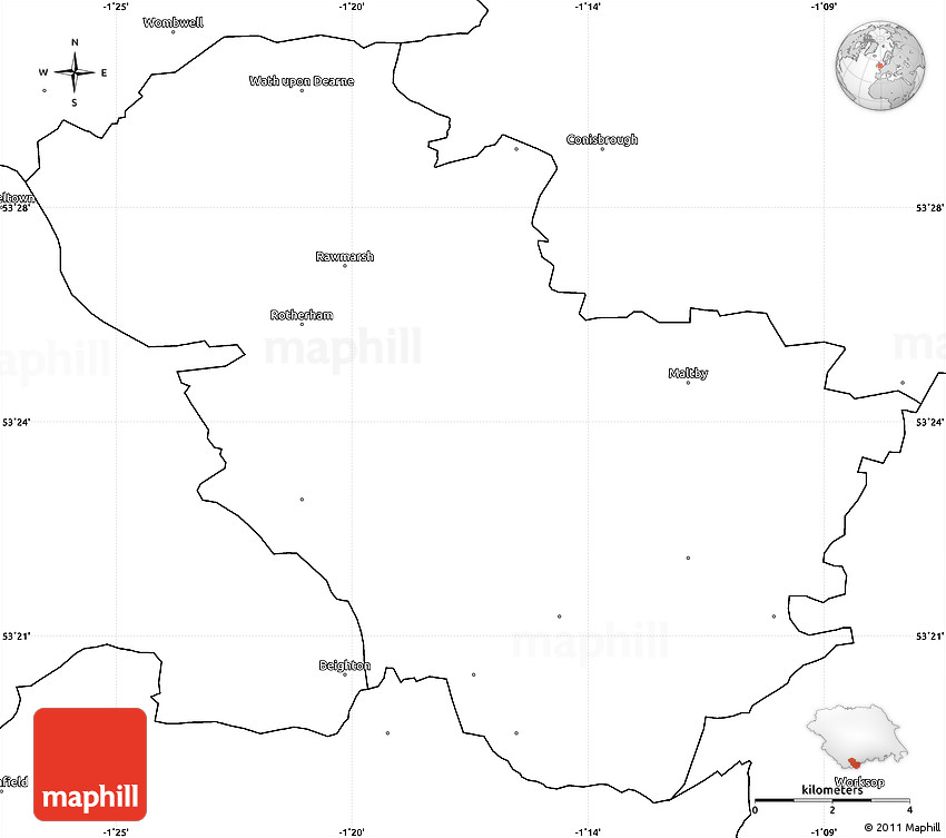 Blank Simple Map of Rotherham