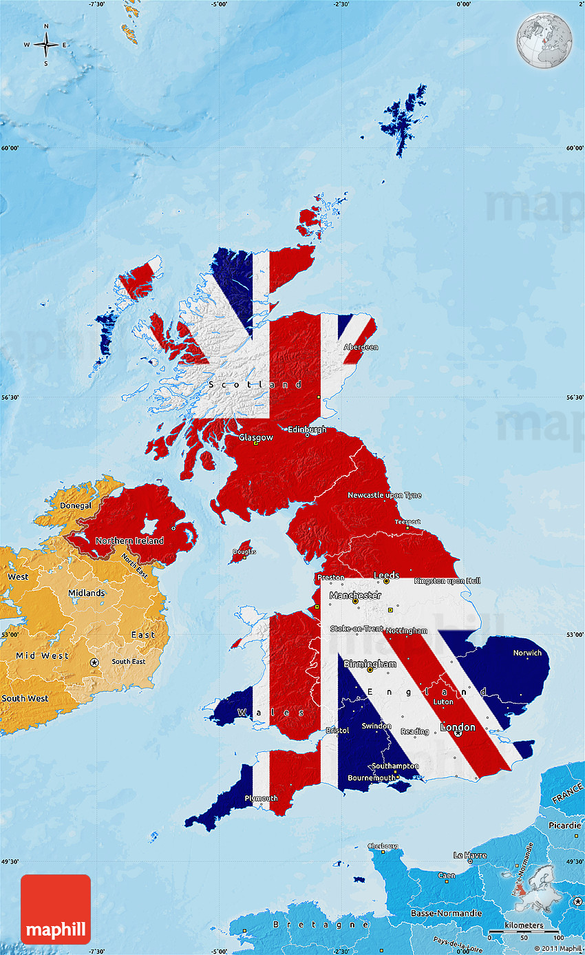 Flag Map of United Kingdom political shades outside