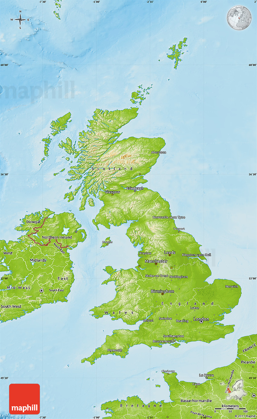 Physical map of united kingdom sciox Image collections