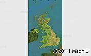 Satellite Map of United Kingdom, darken, land only