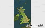 Satellite Map of United Kingdom, darken