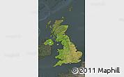 Satellite Map of United Kingdom, darken, semi-desaturated