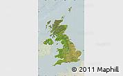 Satellite Map of United Kingdom, lighten