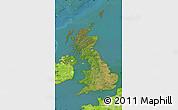 Satellite Map of United Kingdom, physical outside, satellite sea