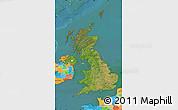 Satellite Map of United Kingdom, political outside, satellite sea