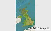 Satellite Map of United Kingdom, shaded relief outside, satellite sea