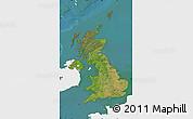 Satellite Map of United Kingdom, single color outside