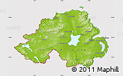 Physical Map of Northern Ireland, cropped outside