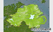 Physical Map of Northern Ireland, darken