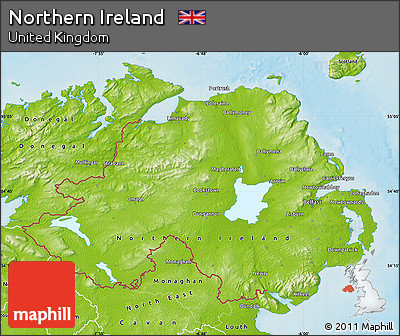 Physical Map of Northern Ireland