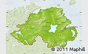 Physical Map of Northern Ireland, lighten