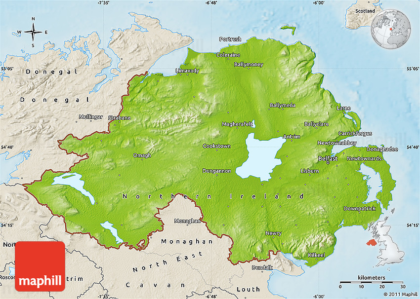 Physical Map Of Northern Ireland Shaded Relief Outside - Ireland physical map