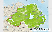 Physical Map of Northern Ireland, shaded relief outside
