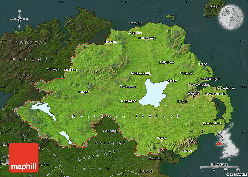 Satellite Map Of Ireland.Satellite Map Of Northern Ireland Darken