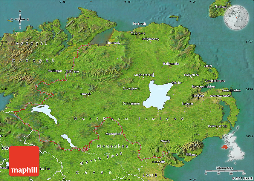 Satellite Map Of Ireland.Satellite Map Of Northern Ireland