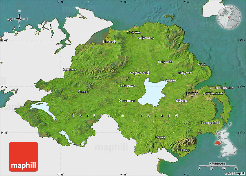 Satellite Map Of Ireland.Satellite Map Of Northern Ireland Single Color Outside