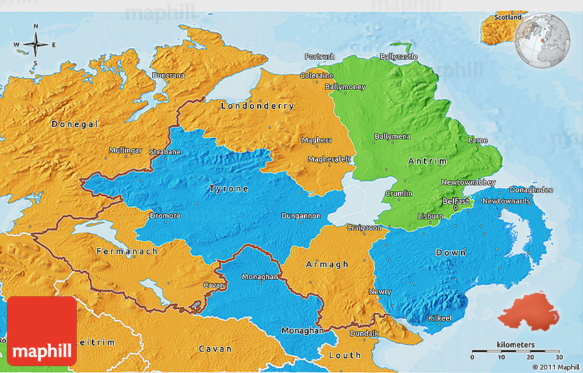 Map Of Ireland 3d.Political 3d Map Of Northern Ireland