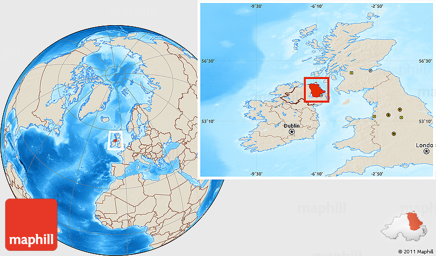 Antrim United Kingdom  city pictures gallery : Shaded Relief Location Map of Antrim