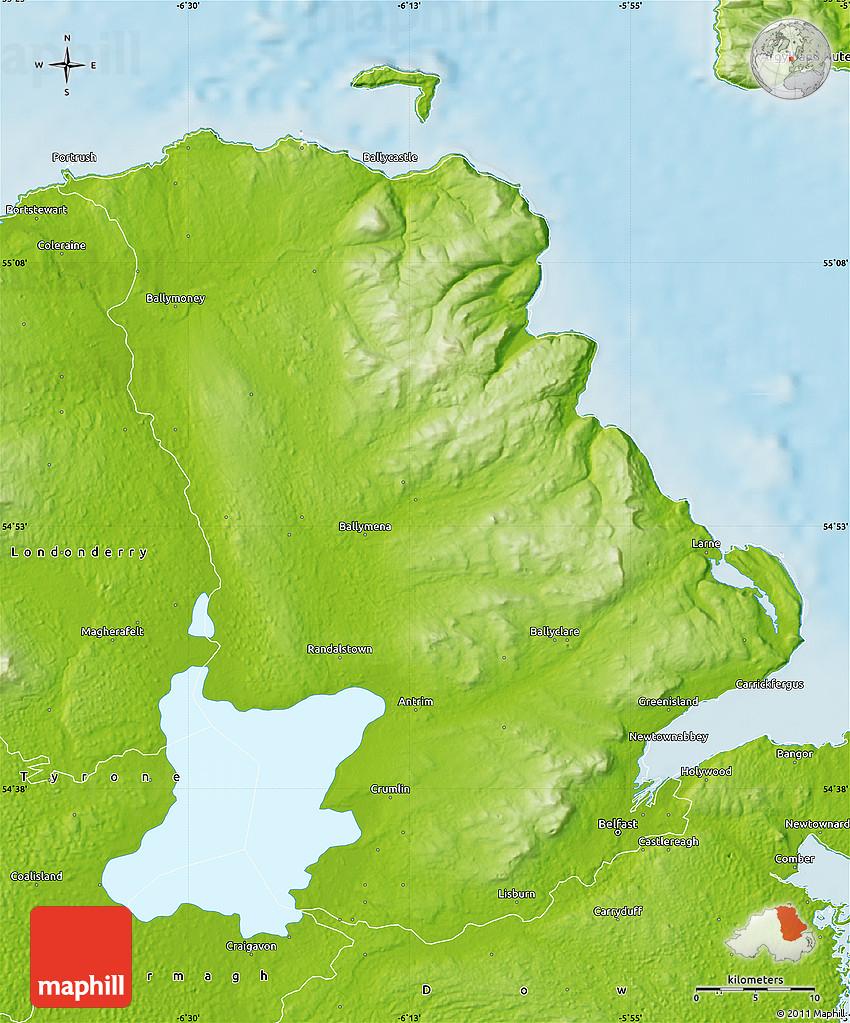 Antrim United Kingdom  city photo : Physical Map of Antrim