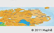 Political Shades Panoramic Map of Northern Ireland