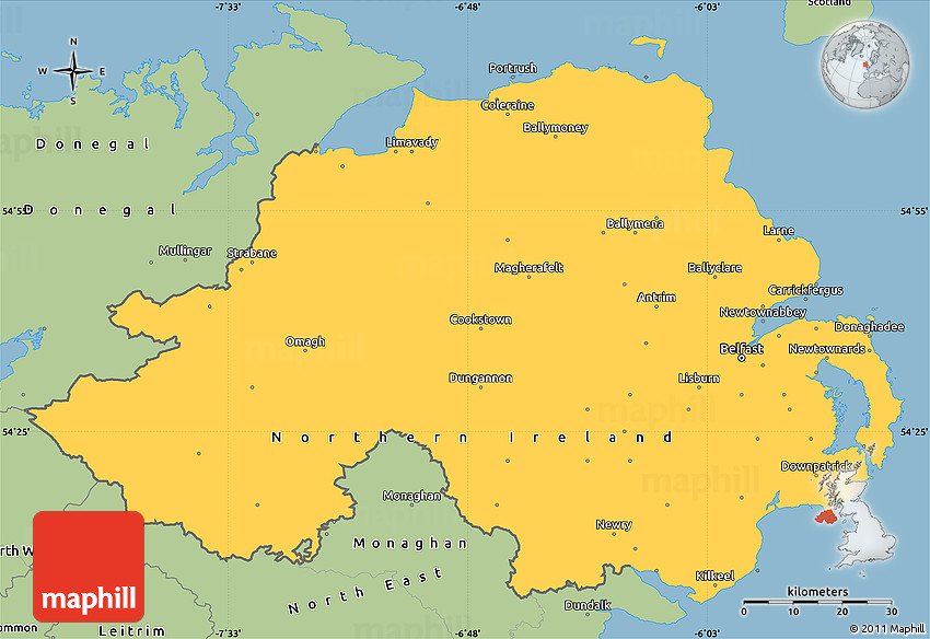 Map Of N Ireland.Savanna Style Simple Map Of Northern Ireland