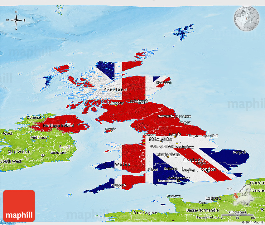 Flag panoramic map of united kingdom physical outside 2d sciox Image collections