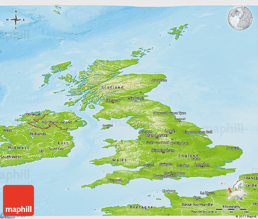 Physical panoramic map of united kingdom sciox Image collections